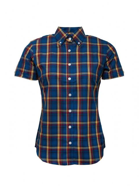 LADIES RELCO NAVY & RED CHECK SHORT SLEEVE